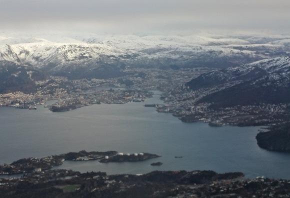 Bergen, from plane, 21/2/12