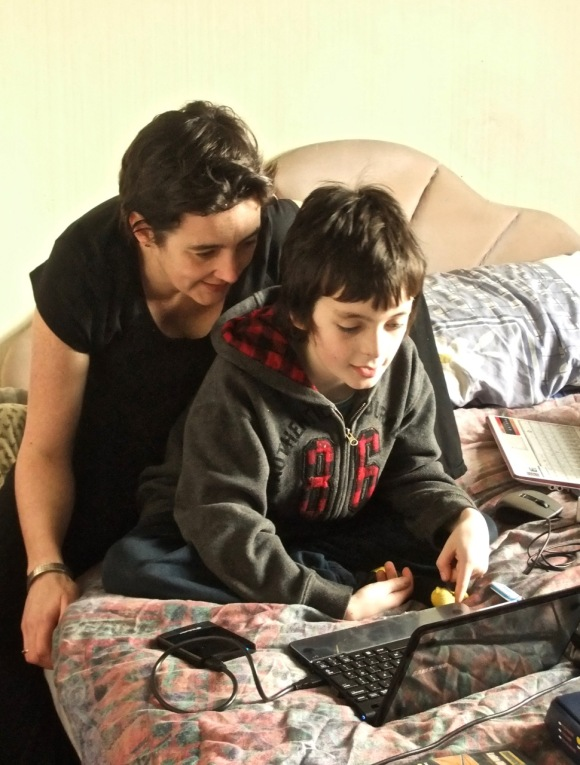 Clare and Joe and laptop, 13/3/12