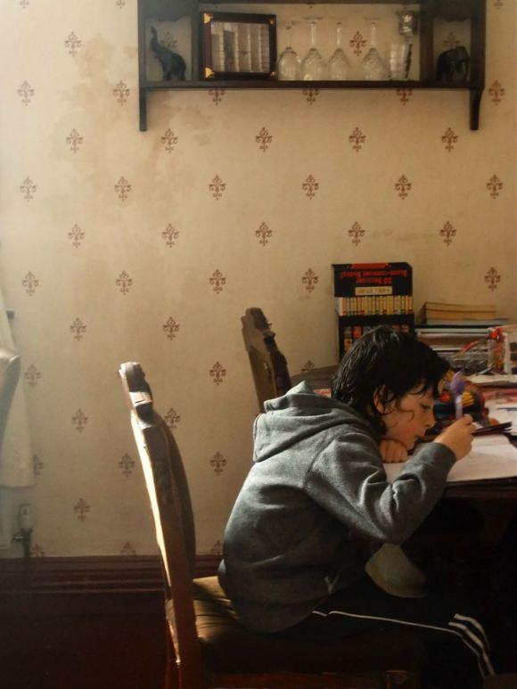 Joe doing homework, 1/7/12