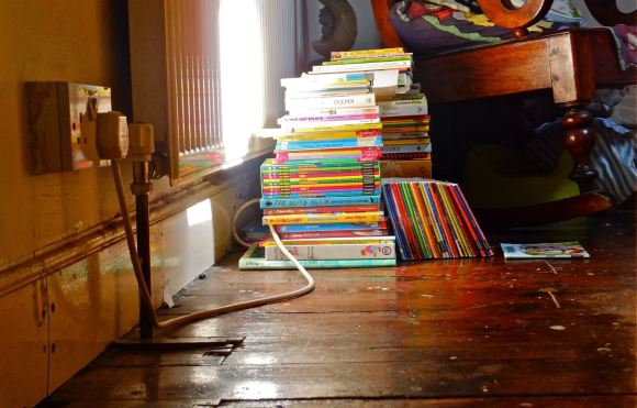 Books on floor, 4/7/13
