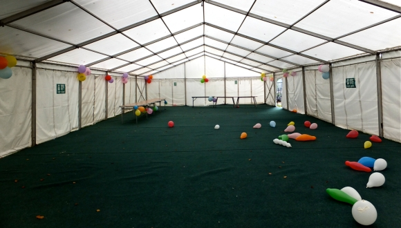 Marquee and balloons, 18/9/13