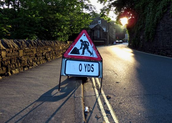 Roadwork sign, 16/7/15