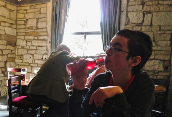 Joe drinking, 28/5/17