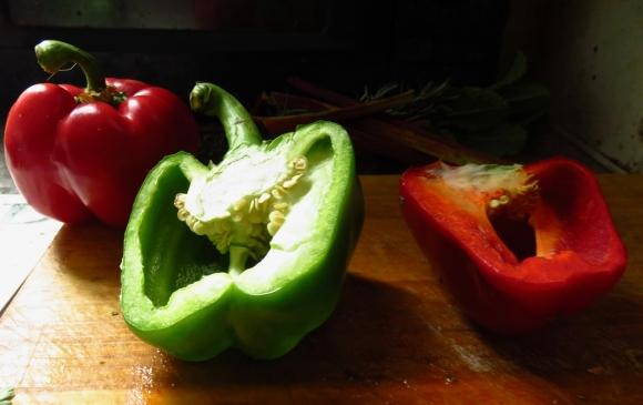 Preparing peppers, 6/5/17