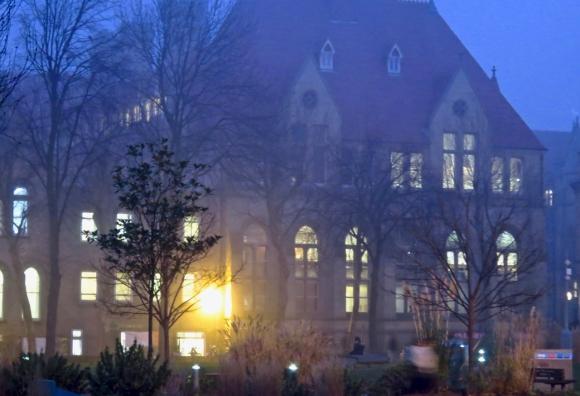 Misty campus evening, 10/1/19