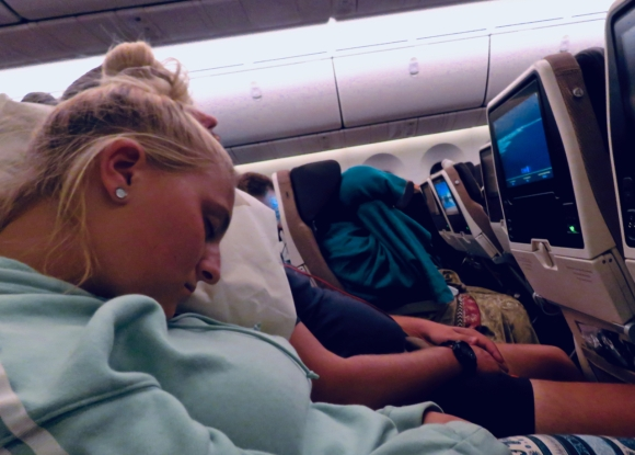 Asleep on plane, 16/4/19