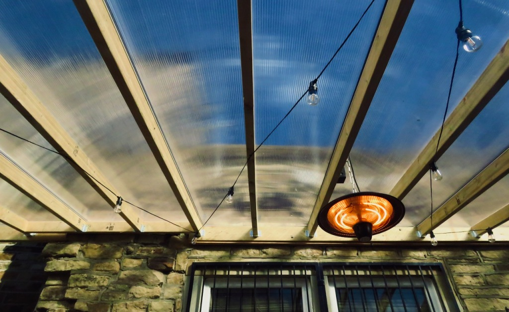 Pub awning and heater, 7/5/21